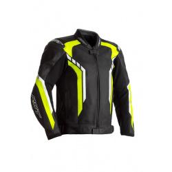 Blouson RST Axis CE cuir -noir/jaune fluo taille L